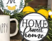 tiered tray home sweet home faux shiplap sign