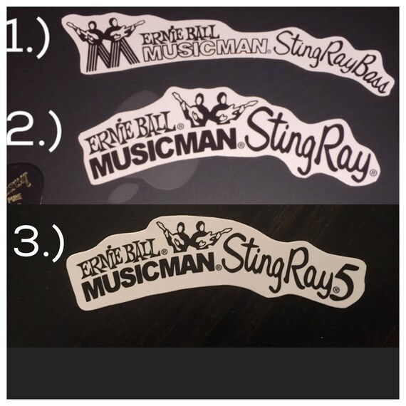 2 Music Man Headstock Back Decal Waterslide Guitar Bass Musicman Sting Ray