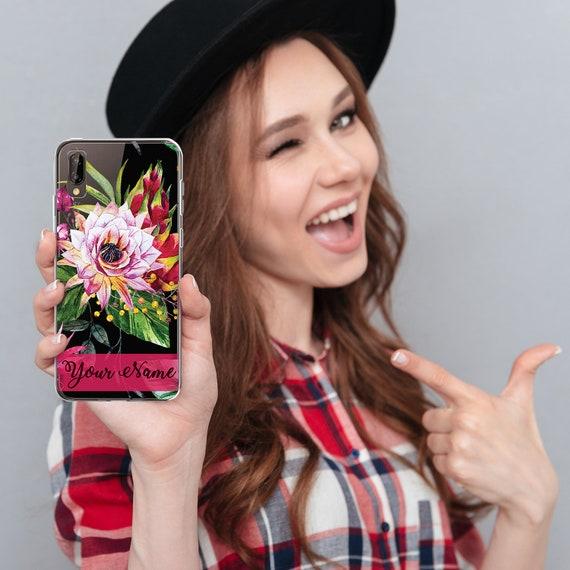 Cas de téléphone Huawei personnalisée / cadeau personnalisé téléphone housse - ajouter votre nom Dragon fleur / livraison gratuite