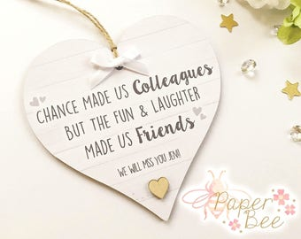 Personalised Work Friend Colleague Heart Plaque Leaving Birthday Gift Present Quote