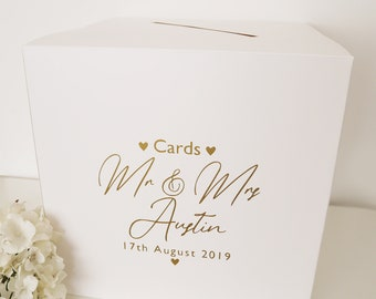 White Ivory or Cream Card. Personalised Wedding Post Box Sign