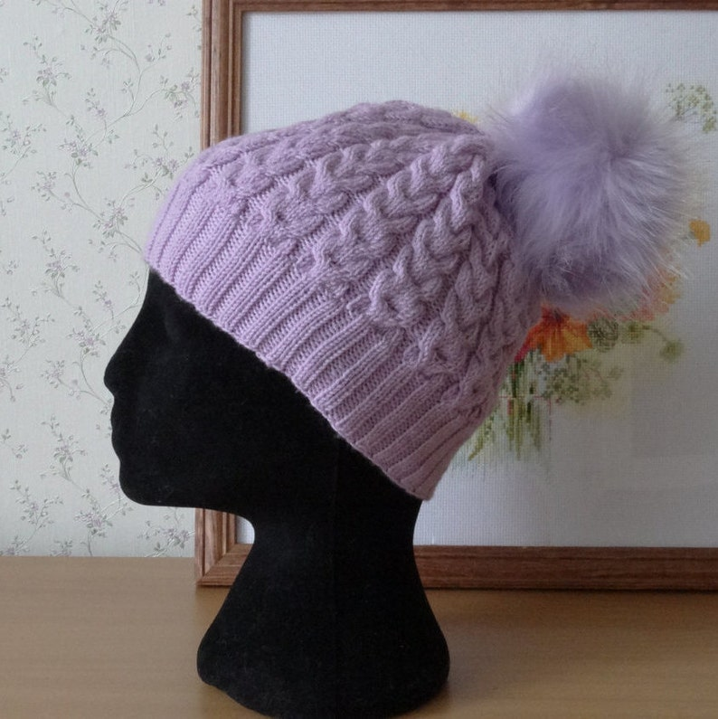 70d505c9ae7 Cable knit hat Knitted Hat purple Wool Beanie violet Women Hat