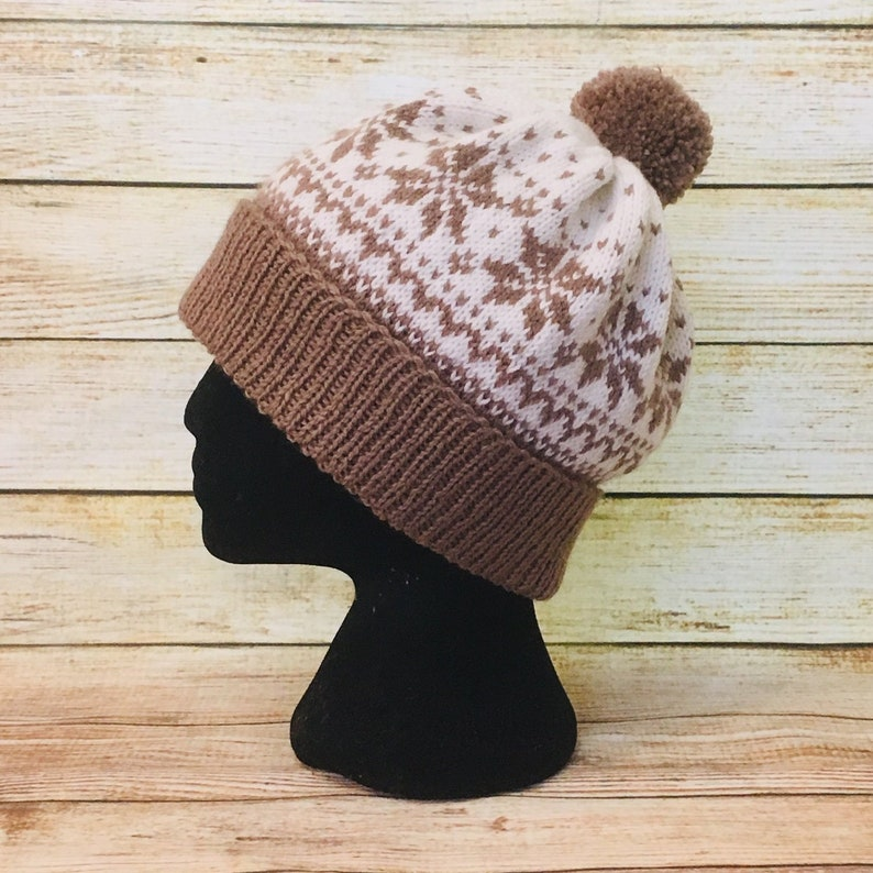 dfcc2b39ba2 Fair isle snowflakes women hat winter accessories Pom Pom hat