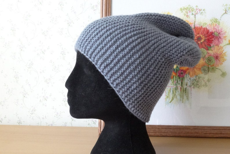 3cc329fcce1 Grey Slouchy beanie Slouch hat wool hat hand knit hat