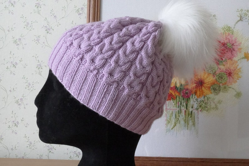 Cable knit hat Knitted Hat purple Wool Beanie violet Women Hat  658121d14739
