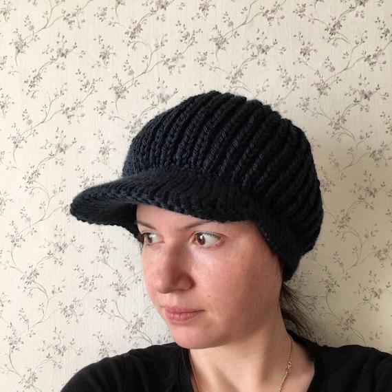 28f3c100 Jaunty knit cap with visor black womens winter hat Warm wool | Etsy