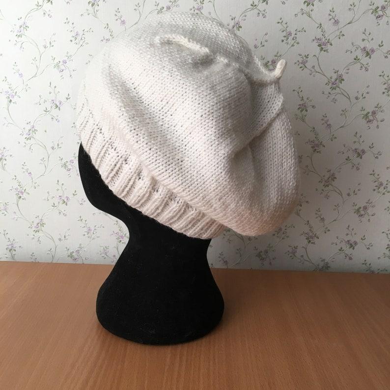 a441583b78 Women Knit Berets Womens knit light overcoat hat Women milk | Etsy