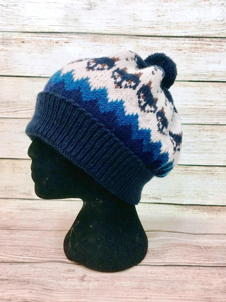 ecaeb3b65e9 Knit wool hat Fair isle with foxes unisex hat winter