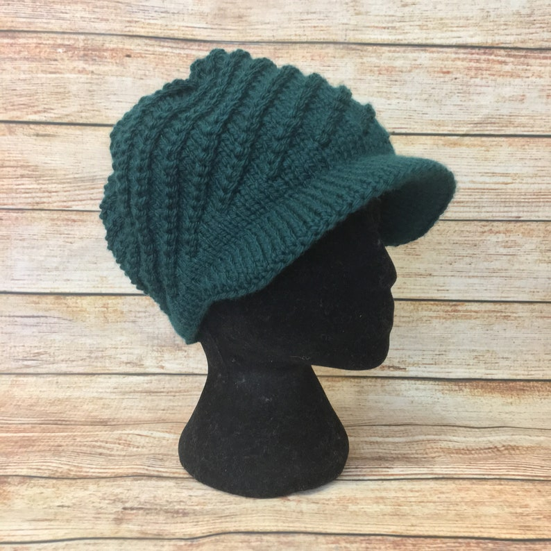 317e2bfb5d1b5 Woolly jaunty knit cap with visor green women winter hat Warm