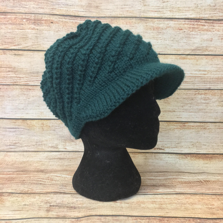 011bb1ada1412 Woolly jaunty knit cap with visor green women winter hat Warm