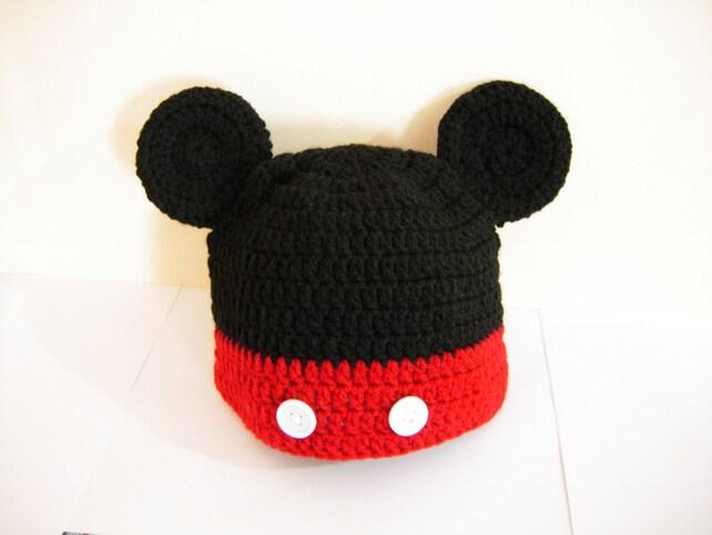 Häkeln mickey mouse Hut Micky Häkelmütze Häkelmütze für   Etsy