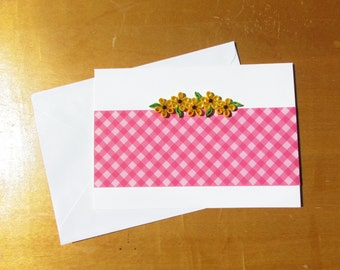 Quilled Greeting Card Cards Flowers Yellow Birthday Blank