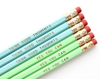 Cute Desk Accessories, Quote Pencils, Gift Under 10, Motivational Pencils, Cute Office Supplies, College Student Gift, Cute School Supplies
