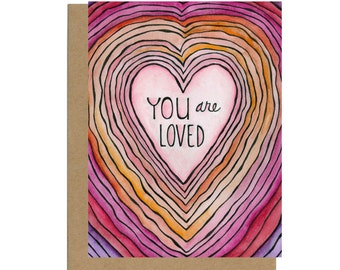 You Are Loved, Valentine's Day Card, Valentine Card for Kids, Love Card Her, Card for Friend, Care Package Card, Thinking of You Card