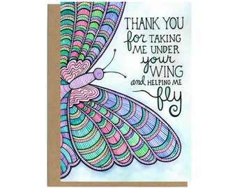 Mentor Card Gift Thank You Teacher Appreciation Butterfly Boss