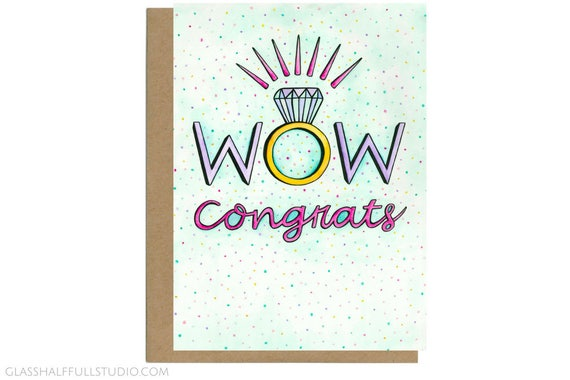 Wow Congrats Card Engagement Card Engagement Ring Etsy