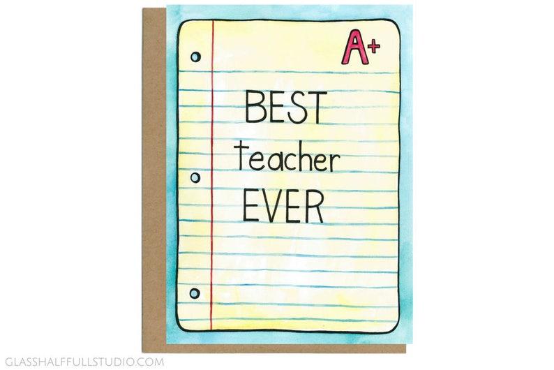 Teacher Card Card for Teacher End of School Gift Best Teacher Ever Card Teacher Mentor Gift Teacher Appreciation Teacher Gift