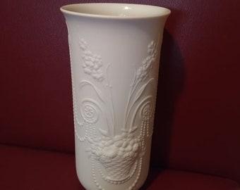 Vintage White Bisque Porcelain M Frey Vase with Rose Motif