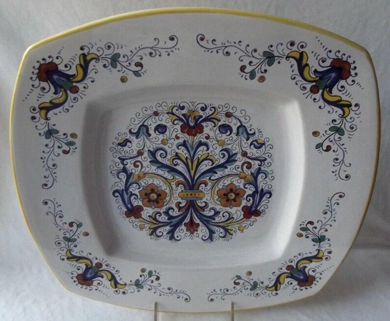 Italian Plate Deruta Ceramiche 14 1/2 Square Service | Etsy