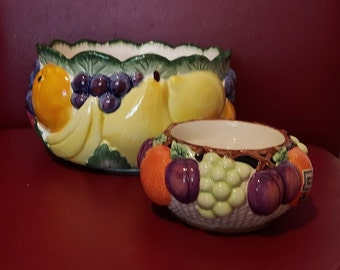 """Vintage Fitz & Floyd Calypso Fruit 6"""" x 4"""" Bowl 26 oz + 4.5"""" x 2.5"""" Pillar Candle Stand Majolica Pottery Hand Painted Pottery Mediterranean"""