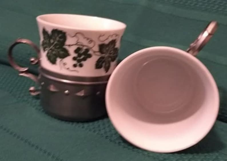 2 Vintage SKS Frieling Zinn Demitasse Pewter Cup Holder Espresso w Porcelain Insert Made in Germany White wGreen Ivy Great Gift St Pats?
