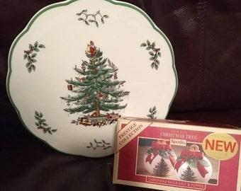 "Spode Christmas Tree (Green Trim) Choice: Never Used Round 9"" Trivet OR New In Original Box Salt & Pepper Set Terrific GIFT"
