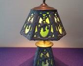 Vintage green milkglass slag lamp