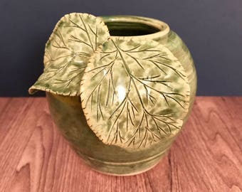 Green Vase with Leaves