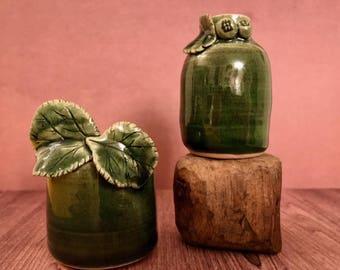 Green Floral Bud Vase Set