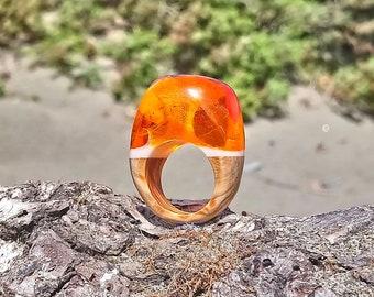 Orange ring, Rings for women, Orange jewelry, Wooden ring, Boho ring, Ring for women, Fashion resin jewelry, Orange resin ring , Ring girl