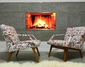 Vintage Retro Cottage Design Flowers Art Deco Bentwood Armchairs set of 2