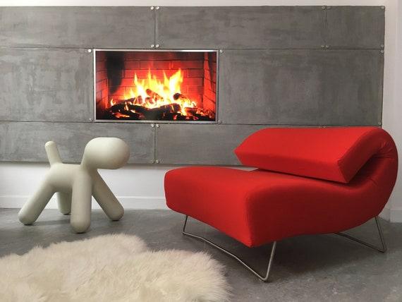 Unique Design Vintage Red Sofa Chaise longue Pascal Mourgue \