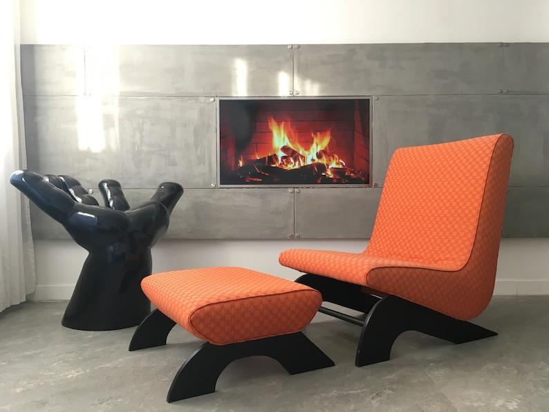 Vintage Funky Design Retro Orange Boomerang Chair Chaise Longue Footstool