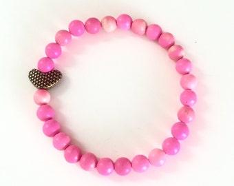 Heart Bracelets, Hot Pink Beaded Bracelet, Rose Bracelets, Turquoise Jewelry, Turquoise Bracelet, Heart Jewelry, Bracelets for Women