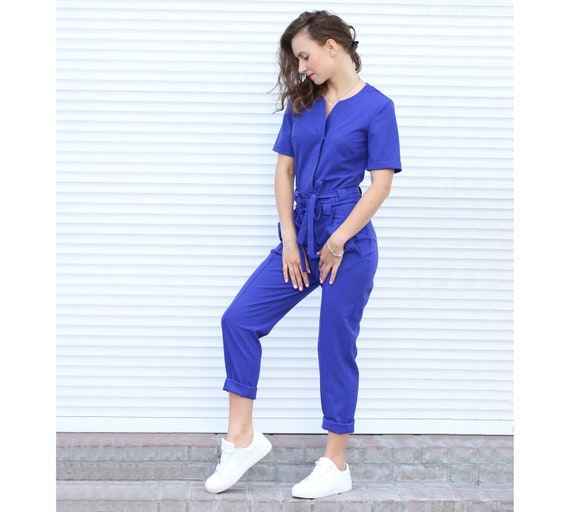 Blue Women Jumpsuit Overalls Womens Suit Elegant Fashion Etsy