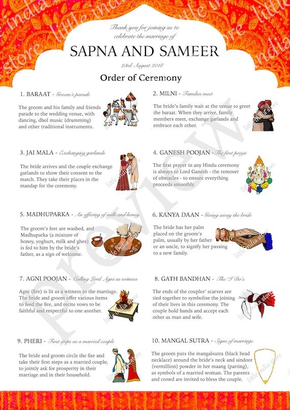 Indian Hindu Wedding Marriage Order Of Ceremony Program Etsy