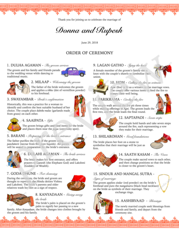 Nepalese nepali wedding marriage Hindu order of ceremony program programme  card a4 illustration invite