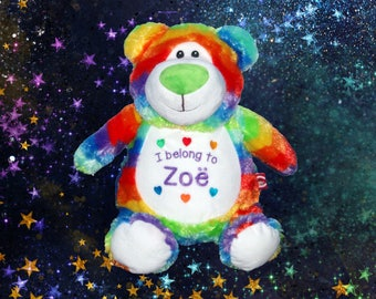 Rainbow Teddy Bear Cubbie embroidered with your special message - unique gift for babies or kids
