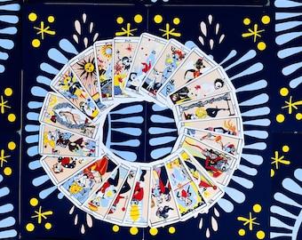 Illustrated divinatory tarot deck, tarot deck, tarot de marseille, tarot cards, tarot reading, sorority, witches, full moon, jodorowsky