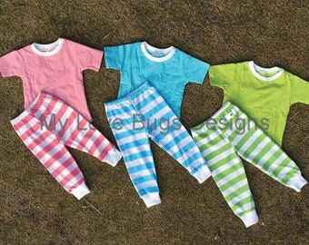 Girls and Boys Spring & Easter Pajama Set -Pink, Blue or Green