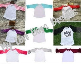Girls Icing Ruffle Raglan Shirts- Multiple Colors Monogramable Shirts-PINK RED GREY