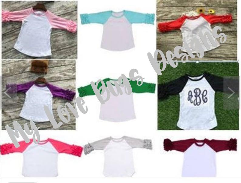 528143c4d89 Girls Icing Ruffle Raglan Shirts Multiple Colors Monogramable