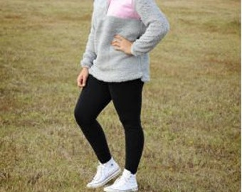 Monogrammed Sherpa Pullover- Grey with Pink Pocket
