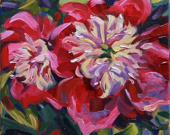 """Red Pink Peony, 8"""" x 8"""" on stretched canvas, Original Oil Floral Painting, flower painting, Rubinetti, thick paint, texture, brushstrokes"""