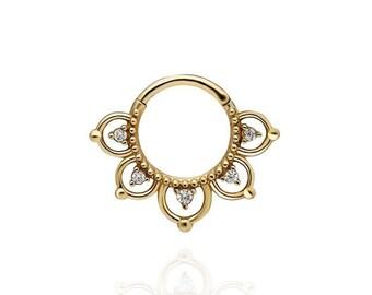 14K Solid Gold Hinge Hoop Earring, Zircon Stone Hoop Earrings, Gold Nose Ring, 18G Nose Hoop Piercing, Hinge Hoop Piercing