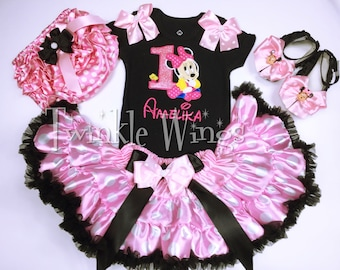 11b84c4060ce Mouse Inspired Birthday outfit Outfit It's My 1st Birthday Girl Outfit Cake  Smash Outfit Baby Girl Pink and black 1st Birthday
