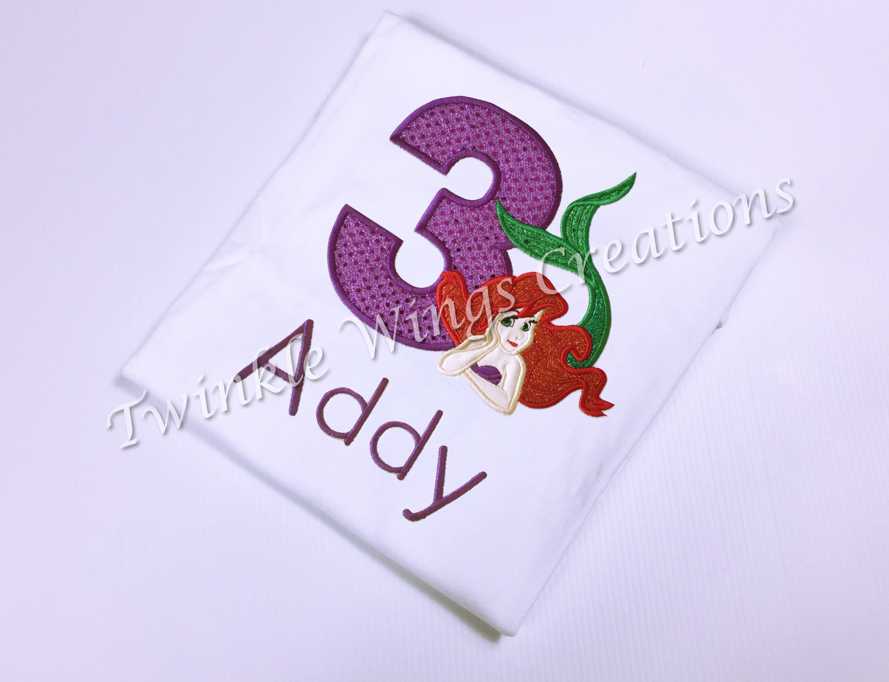 Ariel Birthday Shirt The Little Mermaid Inspired 1st Baby Girl Onesie Personalized Size 12M 24M 3T 4T 5T