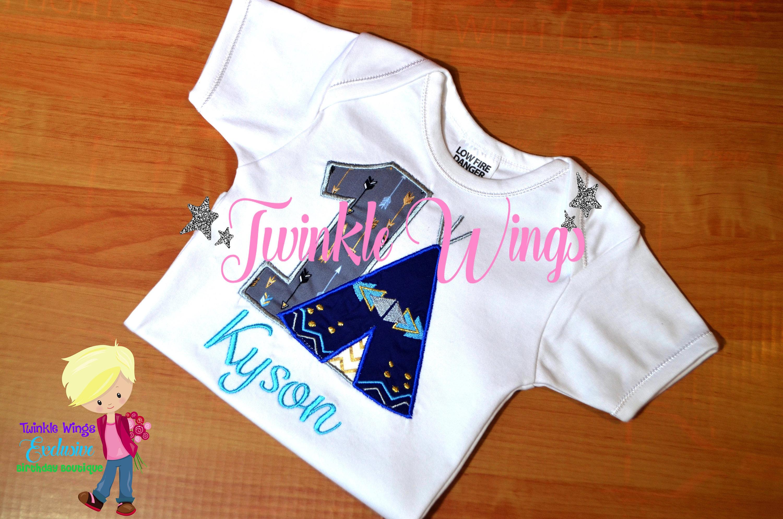 Teepee Birthday Onesie Embroidered Personalized Monogram 1st Tshirt