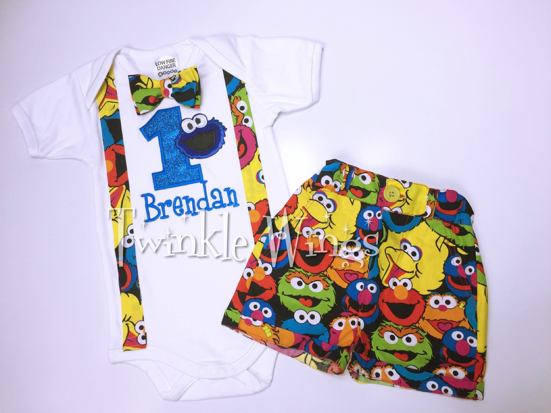 1st Birthday 3 Pc Birthday Outfit Set Inspired Sesame Street Elmo