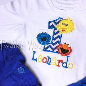 2 Pc Set Sesame Street Cookie Monster Elmo Inspired Birthday Outfit